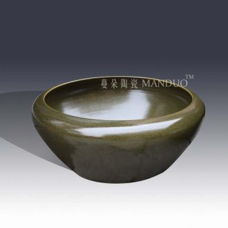 Jingdezhen tea large writing brush washer shallow water at the end of the classical ancient fish farming water shallow writing brush washer goldfish bowl ceramic porcelain
