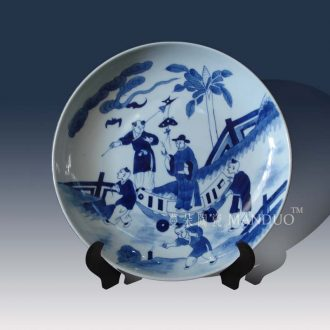 Jingdezhen blue and white porcelain furnishing articles in the qing dynasty kangxi tong qu cross characters classic hand-drawn porcelain furnishing articles
