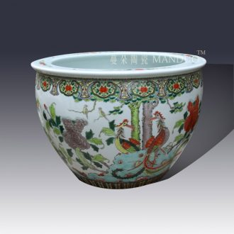 Jingdezhen hand-painted color porcelain VAT antique classical big cylinder imitation of the qing dynasty porcelain cylinder