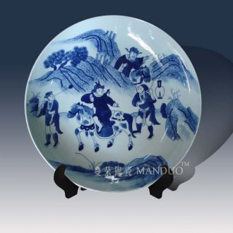 Jingdezhen blue and white kangxi chariots and horses one story porcelain furnishing articles hand-painted hand-painted kangxi steeds decorative porcelain