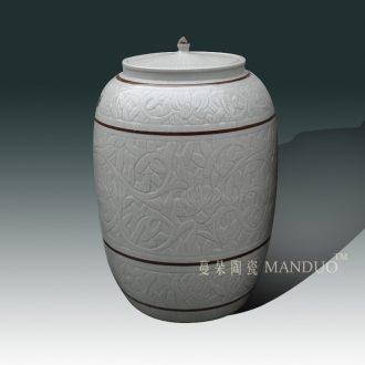 Classical crack glaze porcelain jar of 40-80 jins m cover cover classical porcelain cover environmental protection tube of qianlong
