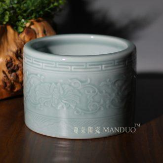 Jingdezhen carving around branch lotus elegant high-grade porcelain vase censer jingdezhen elegant high-grade large brush pot