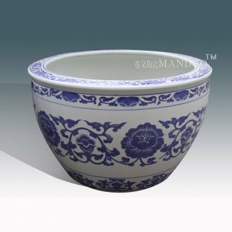 VAT blue and white porcelain of jingdezhen ceramic porcelain cylinder fish farming water lily lotus painting and calligraphy art paper cylinder M six