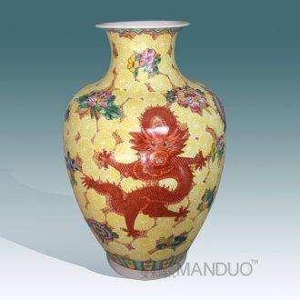Jingdezhen hand-painted pastel dragon vase high-grade high-grade gift porcelain vase furnishing articles furnishing articles villa living room