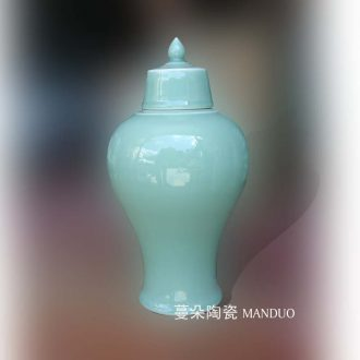 Upscale elegant plum bottle celadon longquan shadow greengage bottle rich ancient frame ornament porcelain jingdezhen porcelain