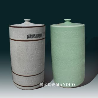 Jingdezhen ceramic porcelain straight meters tank storage tank storage cover fashion big ceramic jar of archaize tank