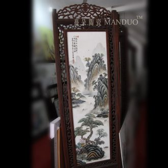 Quadruple hand-painted ceramic porcelain BanShi landscape painting of flowers and birds in wood big screen hotel ceramic art screen