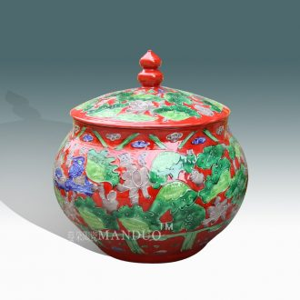 Jingdezhen red ceramic yuanyang cover pot wedding festival ceramic porcelain products archaize powder enamel pot palace