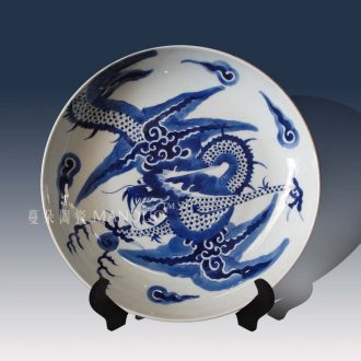 Jingdezhen hand-painted dragon decorative porcelain in the qing dynasty blue and white dragon qing dynasty porcelain furnishing articles furnishing articles hand-painted