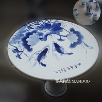 Jingdezhen blue and white lotus carp hand-painted porcelain porcelain table of quietly elegant of blue and white porcelain porcelain table set high strength is firm