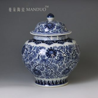 Hand painted blue and white t ceramic porcelain jar of large ceramic storage storage cover cover large porcelain pot M five