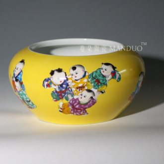 Tong qu writing brush washer elegant porcelain jingdezhen yellow bottom writing brush washer tong qu large aquarium goldfish porcelain porcelain cylinder