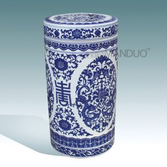 Jingdezhen ceramic meters bolt jar airtight blue-and-white ceramics straight cylinder tank lid can of puer tea cake