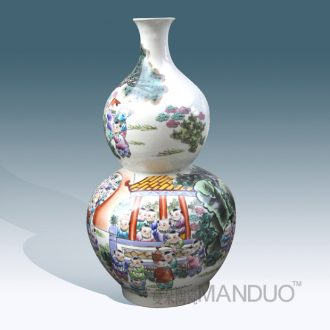 Jingdezhen hand-painted enamel vase sitting room adornment that occupy the home furnishing articles high-grade figure vase vase hoist the ancient philosophers