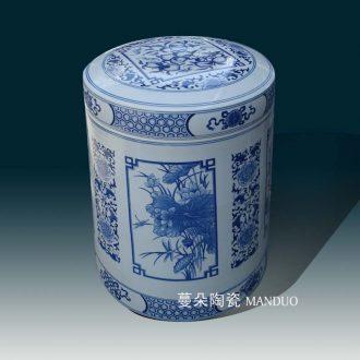 Jingdezhen porcelain cover pot environmental ceramic porcelain storage tank top grade straight porcelain tea cake tin of 30 cm