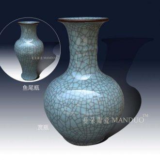 Crack glaze crack open a piece of tail vase elder brother kiln design tendril mesa of pottery and porcelain vase