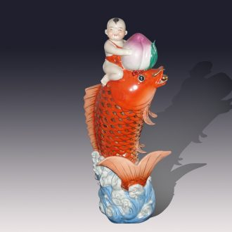 Tong qu birthday red carp sculpture porcelain furnishing articles furnishing articles high-end stereo tong qu xiantao carp culture porcelain