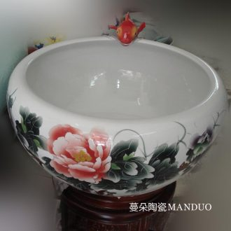 Hand color peony red carp fountain household porcelain jingdezhen indoor fountain fountains wood base