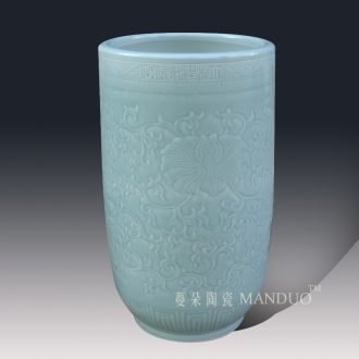 Even light elegant tangles branches quiver straight ceramic vase anaglyph carved quiver vase vase celadon