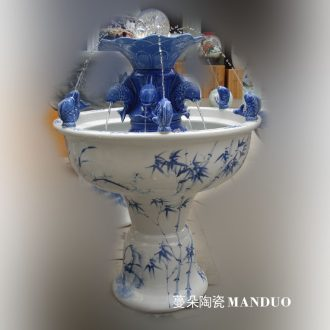 Jingdezhen hand-painted all blue and white porcelain painting bamboo atomizer porcelain spray humidifying fountains
