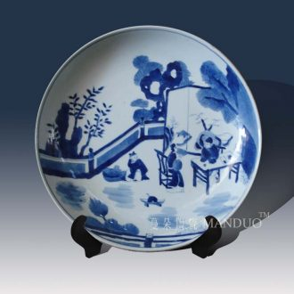 Jingdezhen hand-painted kangxi cross character blue and white porcelain qing dynasty courtyard classical decorative porcelain figures