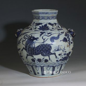 Imitation of yuan blue and white peony dragon large pot of yuan dynasty blue and white peony dragon benevolent ears porcelain pot original embryo