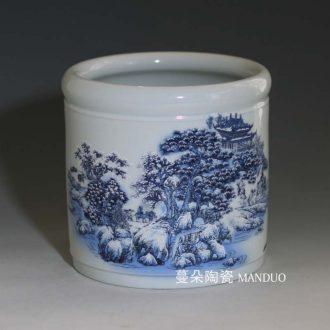 Landscape of jingdezhen blue and white porcelain brush pot blue and white porcelain brush pot large porcelain brush pot landscapes