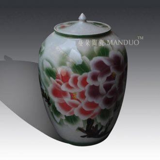 Ceramic porcelain pot peony barrel m fashion beautiful bright red peony peony storage large storage tank