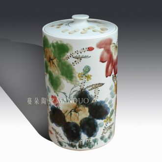 Jingdezhen ceramic porcelain hand-painted lotus cover pot pu 'er cake receives the seventh, peulthai the environmental m environmental tank