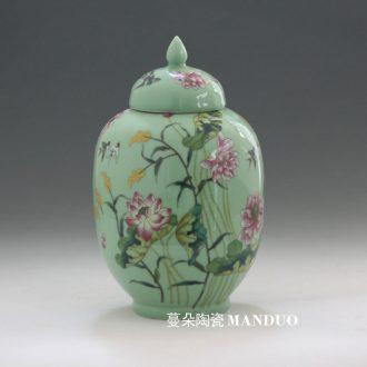 Jingdezhen porcelain jar of fashion color lotus elegant decorative porcelain pot storage porcelain