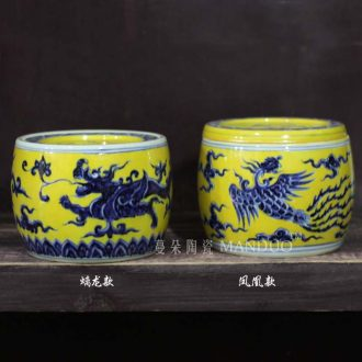 Yellow XuanDeLong grain and grain for cricket cans dragon grain yellow hand-painted porcelain cricket cans