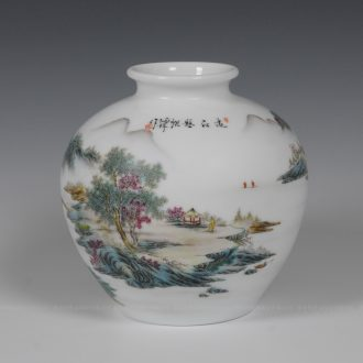 Jingdezhen ceramics famous Zhang Bingxiang hand-painted famille rose porcelain vase pomegranate landscape figure collection certificate the ancient philosophers