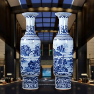 Jingdezhen blue and white landscape hand-painted ceramics landing big vase sitting room of modern ceramic vases, furnishing articles