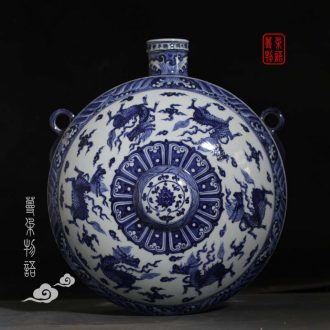 Blue and white porcelain flat bottles of blue and white hanging benevolent porcelain vase seawater jintong hanging vases, kirin