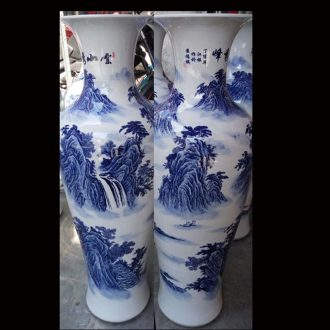 Jingdezhen blue and white flowers classical furnishings vase full 1 m sitting room furnishings simple big vase