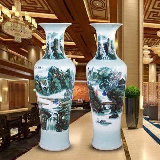 Jingdezhen of large vases, hand-painted color ink landscape ceramic vase modern housewarming sitting room adornment is placed
