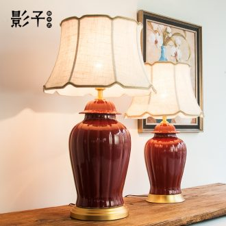 Ceramic copper all Chinese style wedding general desk lamp wedding festive red tank 1050 American sitting room the bedroom the head of a bed lamp