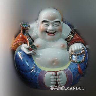 Jingdezhen ruyi laughing Buddha jingdezhen porcelain color door porch decoration porcelain Buddha laughing Buddha