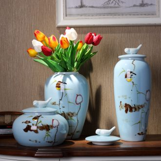 Jingdezhen ceramics three-piece vase fashionable household wine ark adornment handicraft furnishing articles in the living room