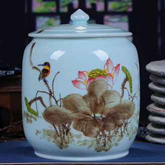 Jingdezhen ceramic hand-painted tea cake jar airtight jar large puer tea with restoring ancient ways of household