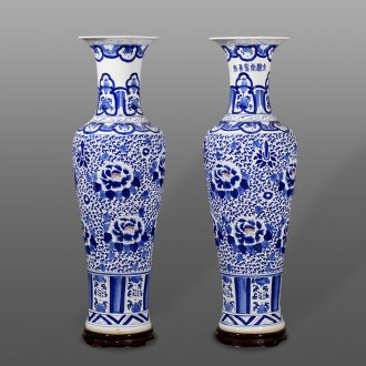Jingdezhen porcelain hand-painted qingming shanghe landing big vases, ceramic decoration crafts are sitting room