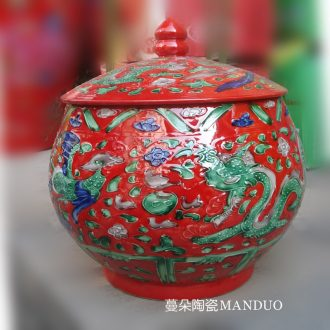 Jingdezhen yellow longfeng cover pot of Chinese style furniture ceramic decoration supplies archaize powder enamel pot M a palace