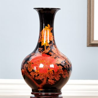 Jingdezhen ceramics blooming flowers vase decoration in modern household wine ark adornment handicraft furnishing articles sitting room