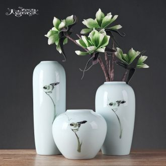 Contemporary and contracted style ceramic plug vase continental creative living room TV cabinet dry flower home furnishing articles