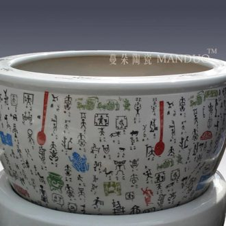 Jingdezhen classical ancient text VAT study calligraphy and painting decorative painting and calligraphy scrolls ceramic porcelain cylinder cylinder