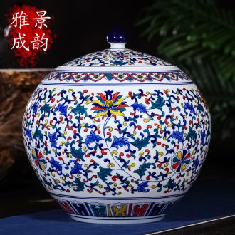 Jingdezhen ceramics large seal pot tea caddy retro store receives big yards puer tea pot