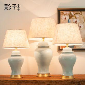 Full copper ceramic desk lamp of modern American general contracted tank sitting room large hotel study bedroom berth lamp, 1032