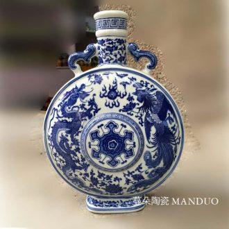 Jingdezhen blue and white porcelain longfeng flat pot of jingdezhen blue and white ears longfeng ceramic pot flat