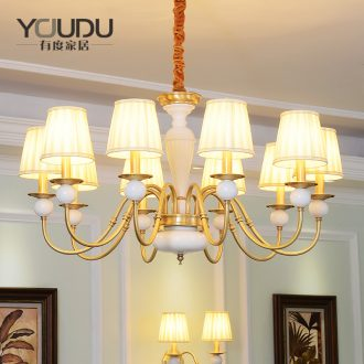 American whole copper chandelier European contracted warm Nordic fashionable sitting room bedroom restaurant study pure copper ceramic lamps and lanterns