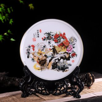 Jingdezhen ceramic disc hanging dish decorative plate disc home rich ancient frame wine TV ark adornment handicraft furnishing articles